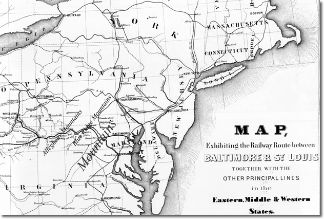 Map 1: United States Railroads by 1850